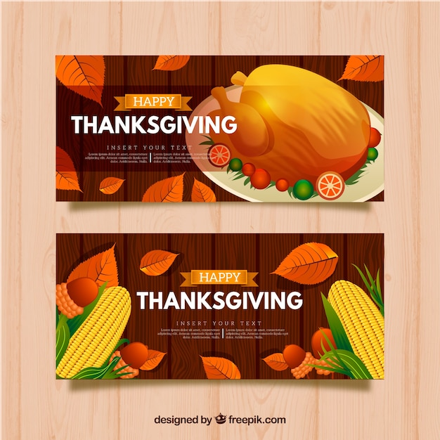 Thanksgiving banners with realistic style