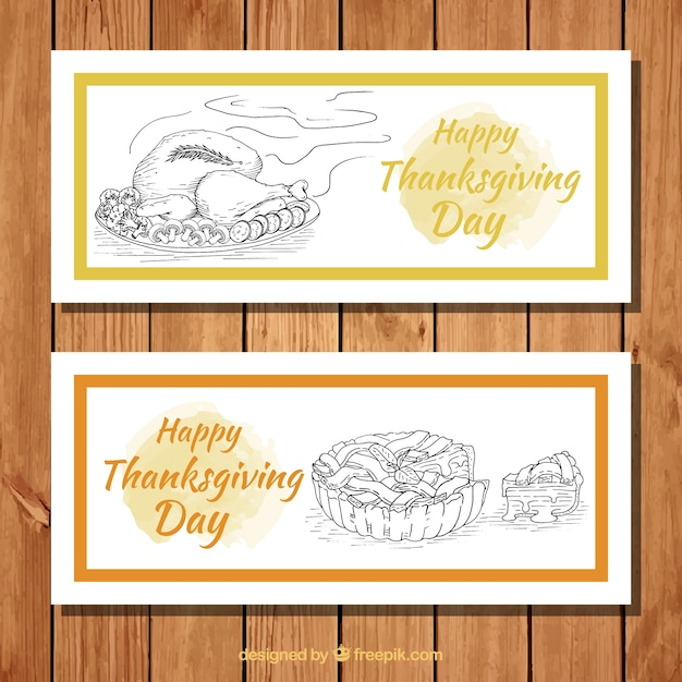 Thanksgiving banners with traditional\ dishes