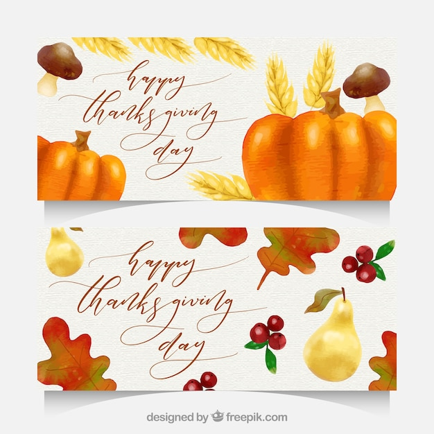 Thanksgiving banners with watercolor\ style
