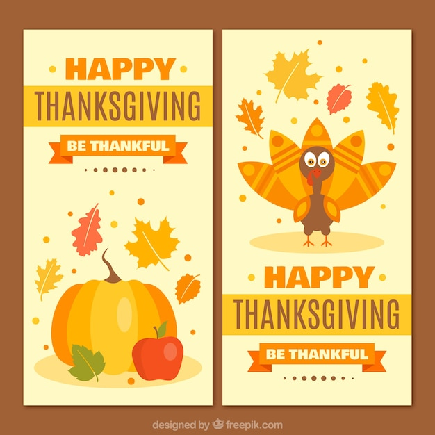 Thanksgiving beautiful banners of with pumpkin and nice turkey vector free download for Happy thanksgiving banners