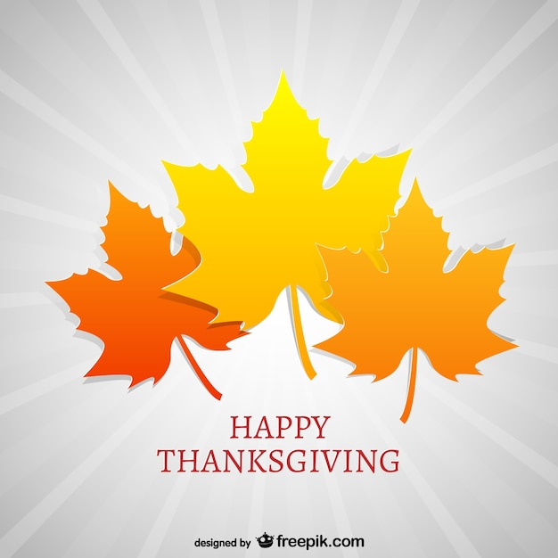 Thanksgiving card with autumn leaves
