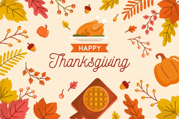Thanksgiving concept in flat design Free Vector