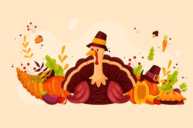 Thanksgiving concept in hand drawn Premium Vector