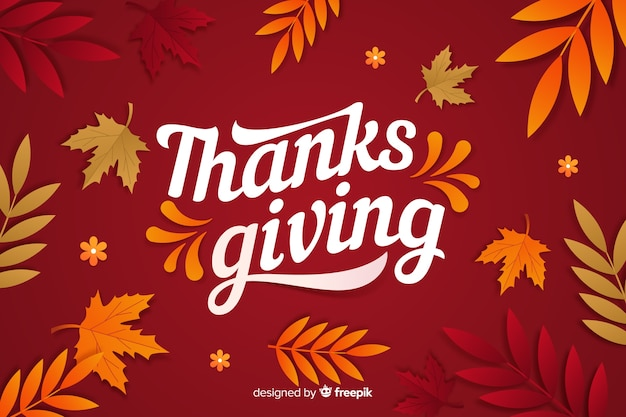 Thanksgiving concept with flat design background Free Vector