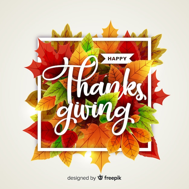Thanksgiving concept with realistic background Free Vector