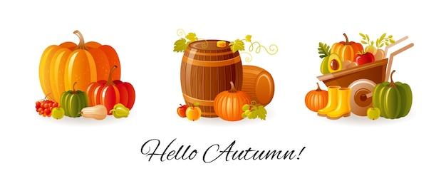 感謝祭と農場の秋の収穫祭が設定されています。秋のカボチャ、ワイン樽、果物と野菜の手押し車。 Premiumベクター