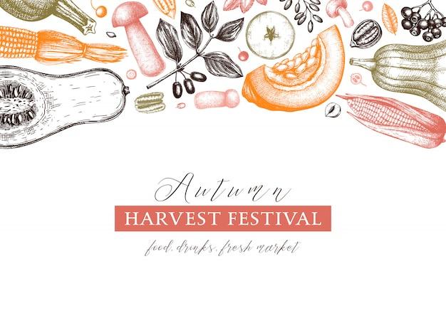 感謝祭の日。秋の収穫のビンテージ背景。手描きの果実、果物、野菜、キノコのイラストで秋のシーズンの背景。伝統的な秋の植物要素 Premiumベクター