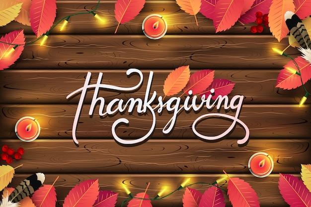 Thanksgiving day background. autumn season calligraphic thanksgiving lettering. Premium Vector