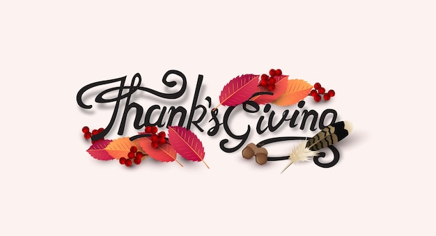 Thanksgiving day background. autumn season happy thanksgiving inscription. Premium Vector