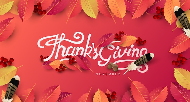 Thanksgiving day background. autumn season happy thanksgiving inscription. Premium Vector