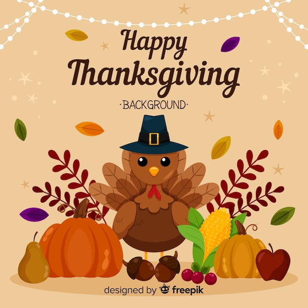 Thanksgiving day background in flat design with turkey Free Vector