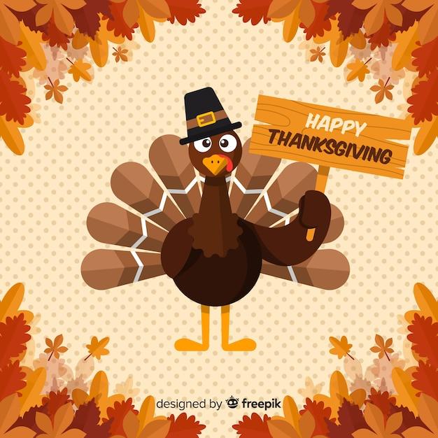 Thanksgiving day background in flat design with turkey Premium Vector