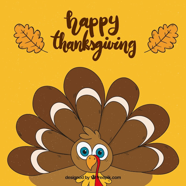 Thanksgiving day background with hand drawn\ turkey