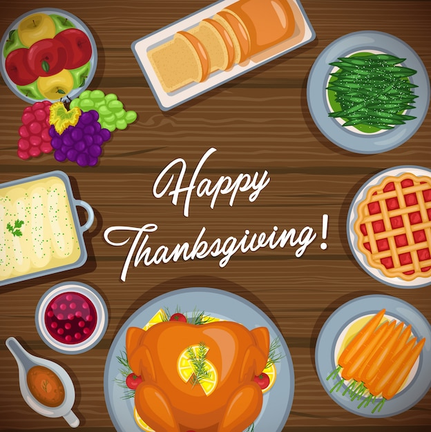 Thanksgiving day background with traditional holiday dinner on wooden table Premium Vector