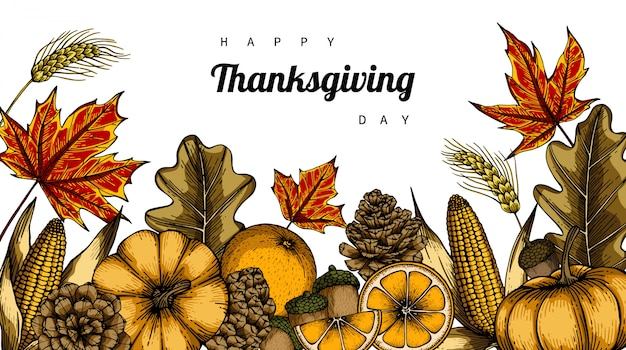 Thanksgiving day backgrounds and greeting card with flower and leaf drawing illustration. Premium Vector