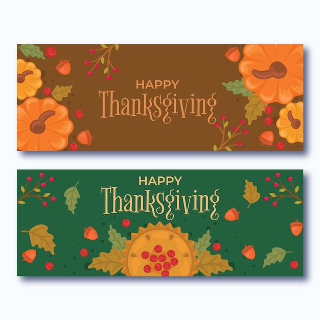 Thanksgiving day banner concept Free Vector