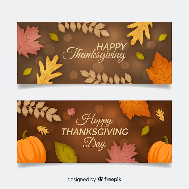 Thanksgiving day banner set with autumn elements Free Vector