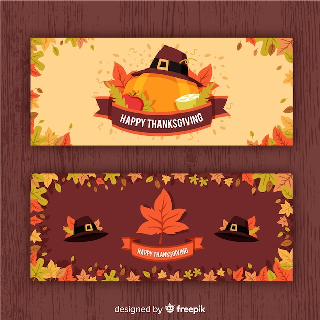 Thanksgiving day banner set with pumpkins Free Vector