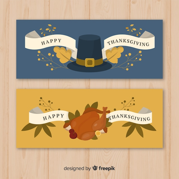 Thanksgiving day banner set Free Vector