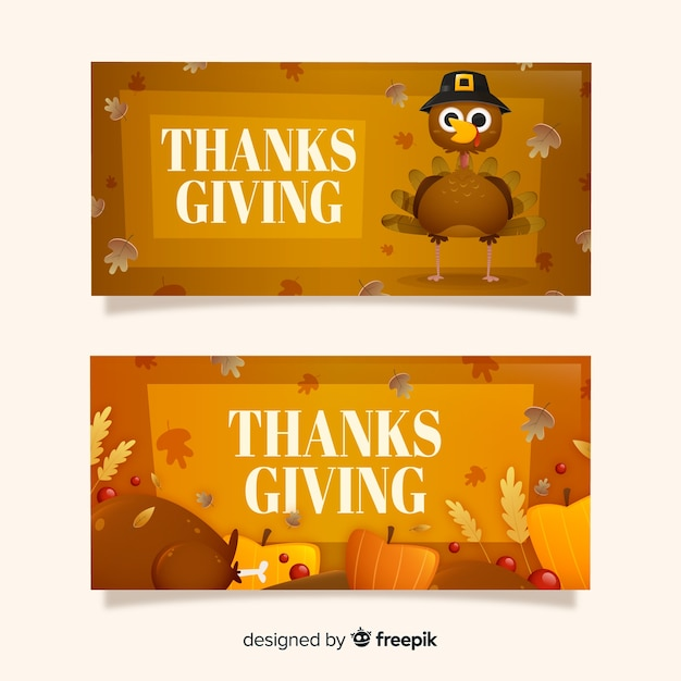 Thanksgiving day banners concept for template Free Vector