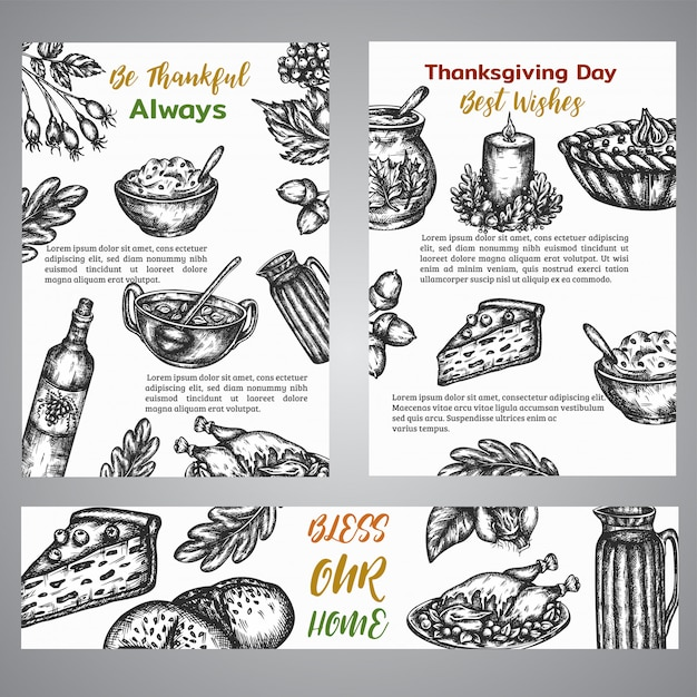 Thanksgiving day broshure collection Premium Vector