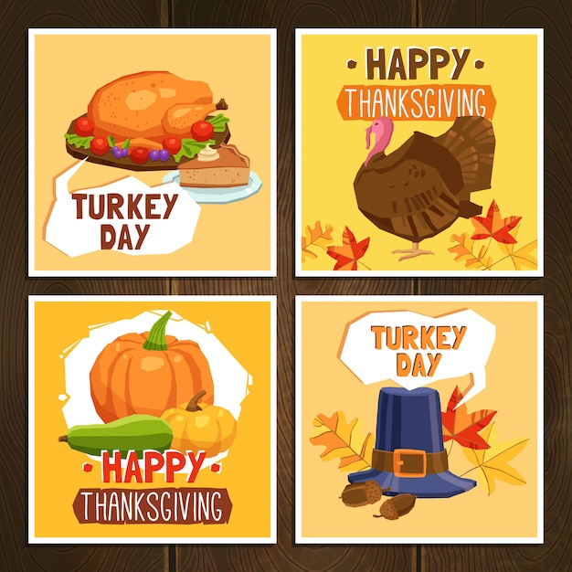 Thanksgiving day cards Free Vector