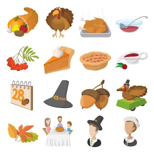 Thanksgiving day cartoon icons set isolated Premium Vector