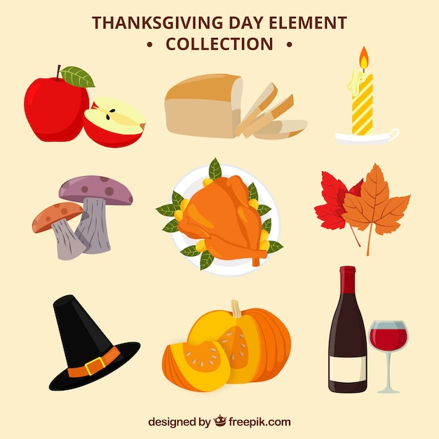 Thanksgiving day elements collection Free Vector