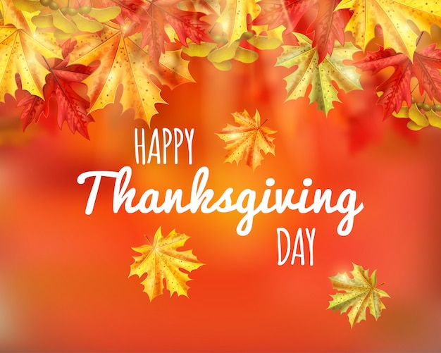 Thanksgiving day greeting card with happy thanksgiving day Free Vector