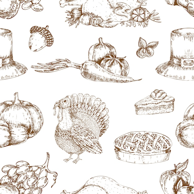 感謝祭の日の手描きのシームレスパターン 無料ベクター