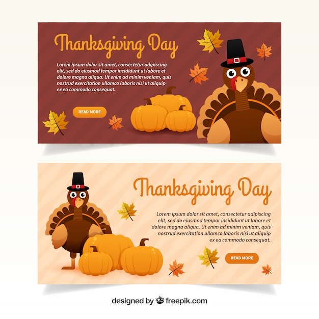 Thanksgiving day happy banners