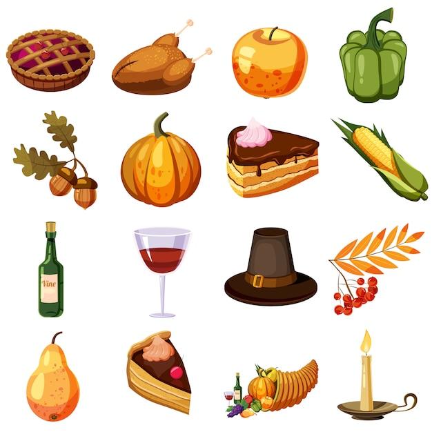 Thanksgiving day icons set, cartoon style Premium Vector