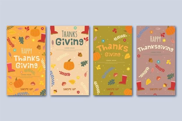 Progettazione di storie di instagram di giorno del ringraziamento Vettore gratuito