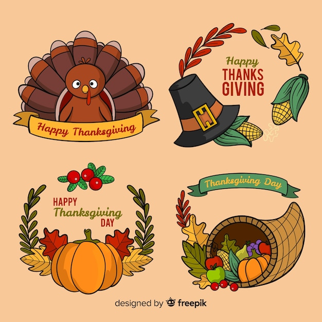 Thanksgiving day label collection in hand drawn style Free Vector