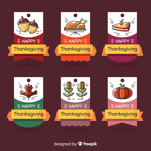 Thanksgiving day label collection hand drawn style Free Vector