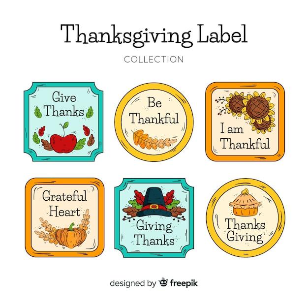 感謝祭の日のラベルのコレクションは、手描きのスタイルで 無料ベクター
