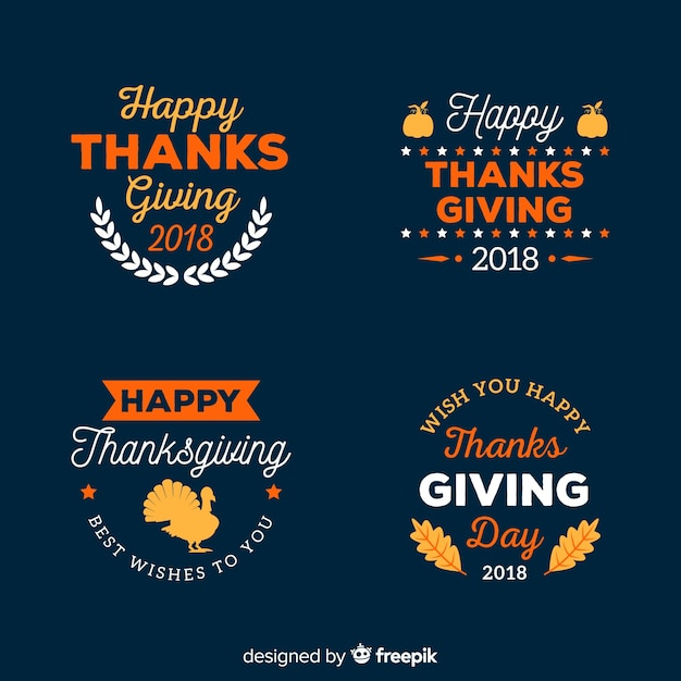 Thanksgiving day label collection Free Vector