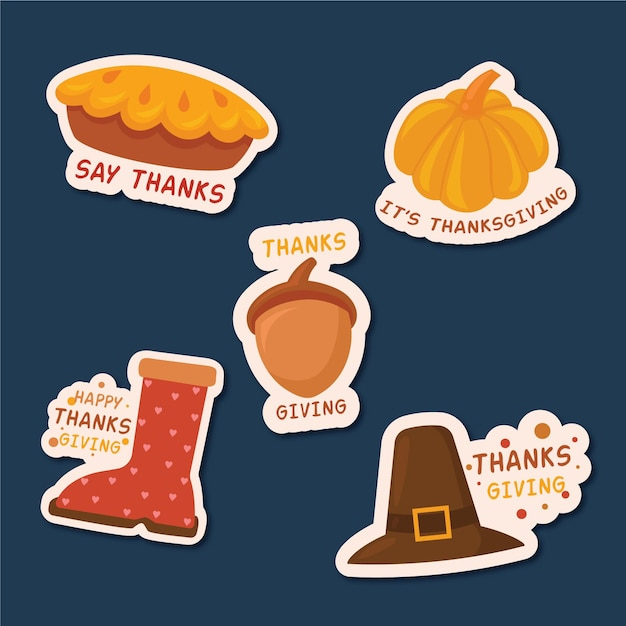 Thanksgiving day labels theme Free Vector