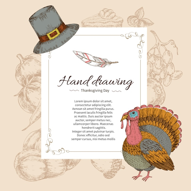 Thanksgiving day letter template Free Vector