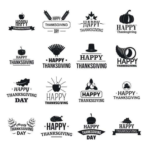 Thanksgiving day logo set Premium Vector