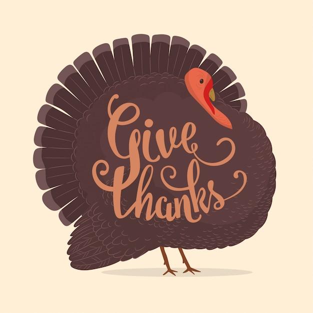 Thanksgiving day turkey card Premium Vector