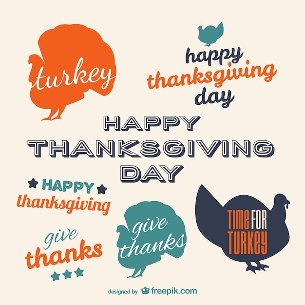 Thanksgiving day typographic labels Free Vector