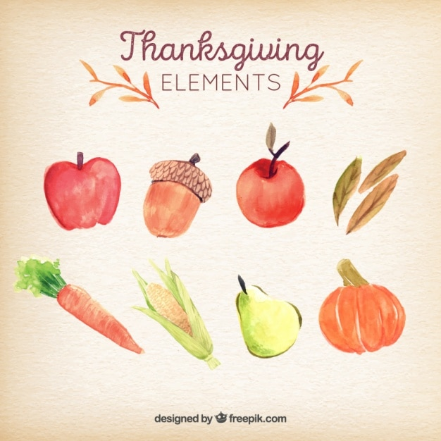 Thanksgiving day watercolor typical ingredients set Free Vector
