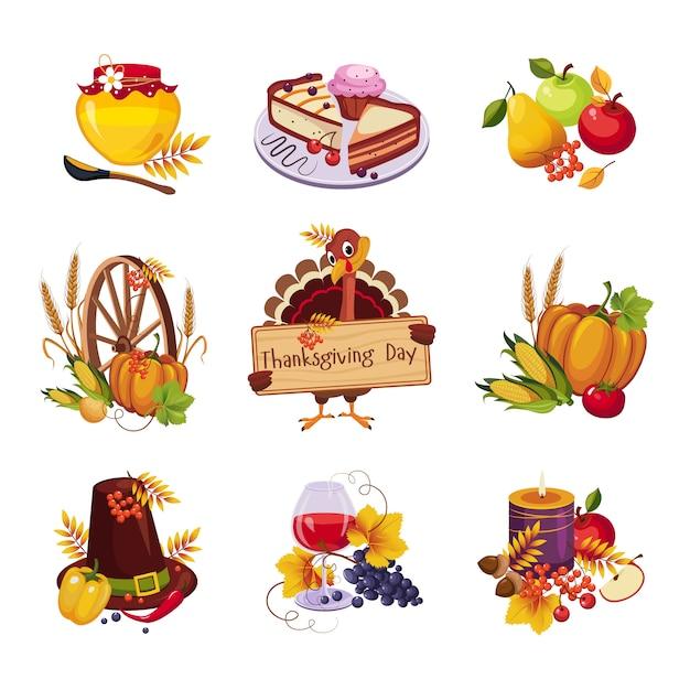 Набор декоративных элементов в день благодарения Premium векторы