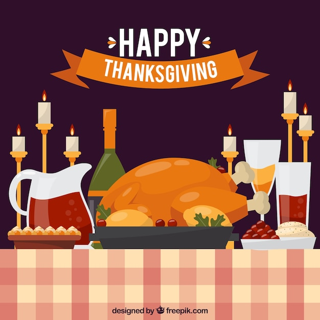 Thanksgiving Dinner Background With Candles Free Vector