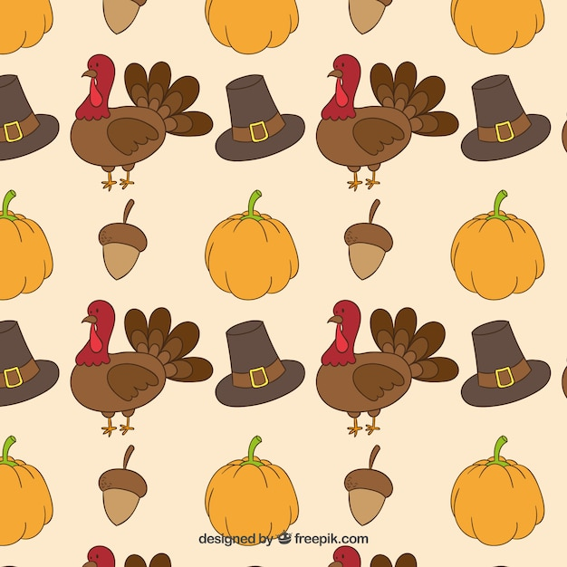 Thanksgiving drawn pattern Vector | Free Download