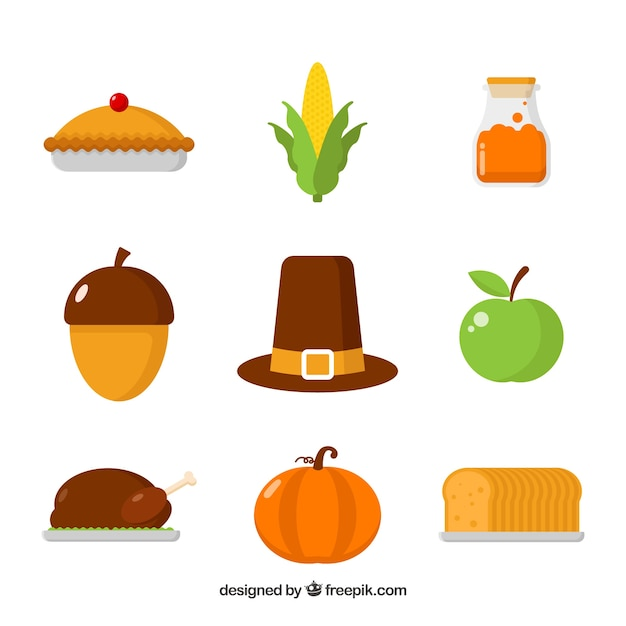 Thanksgiving elements with flat design Free Vector