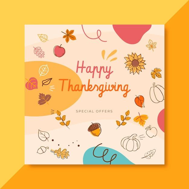 Modello di post facebook del ringraziamento con foglie e auguri Vettore gratuito