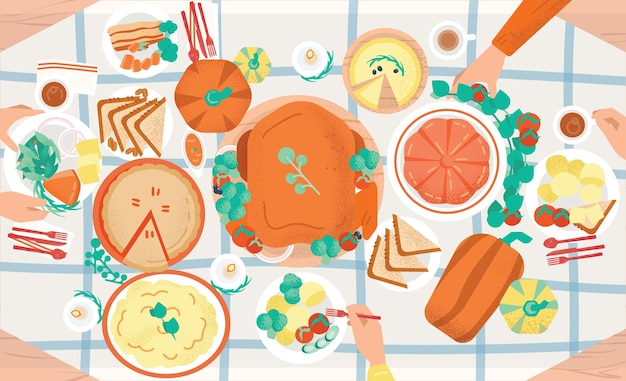 Thanksgiving festive dinner. tasty traditional holiday meals lying on plates and hands of people eating them Premium Vector