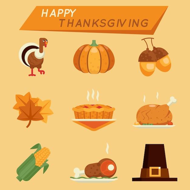 Плоский клипарт на день благодарения. индейка и тыква, желудь и торт Бесплатные векторы